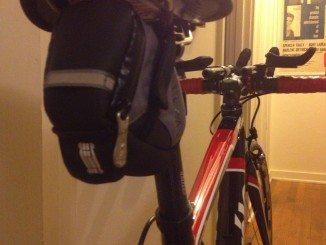 A small bicycle saddlebag seat wedge